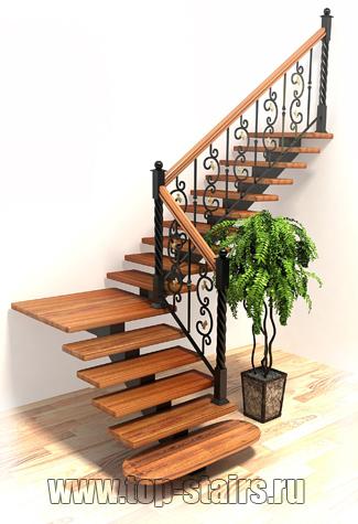лестница на косоуре с ковкой
